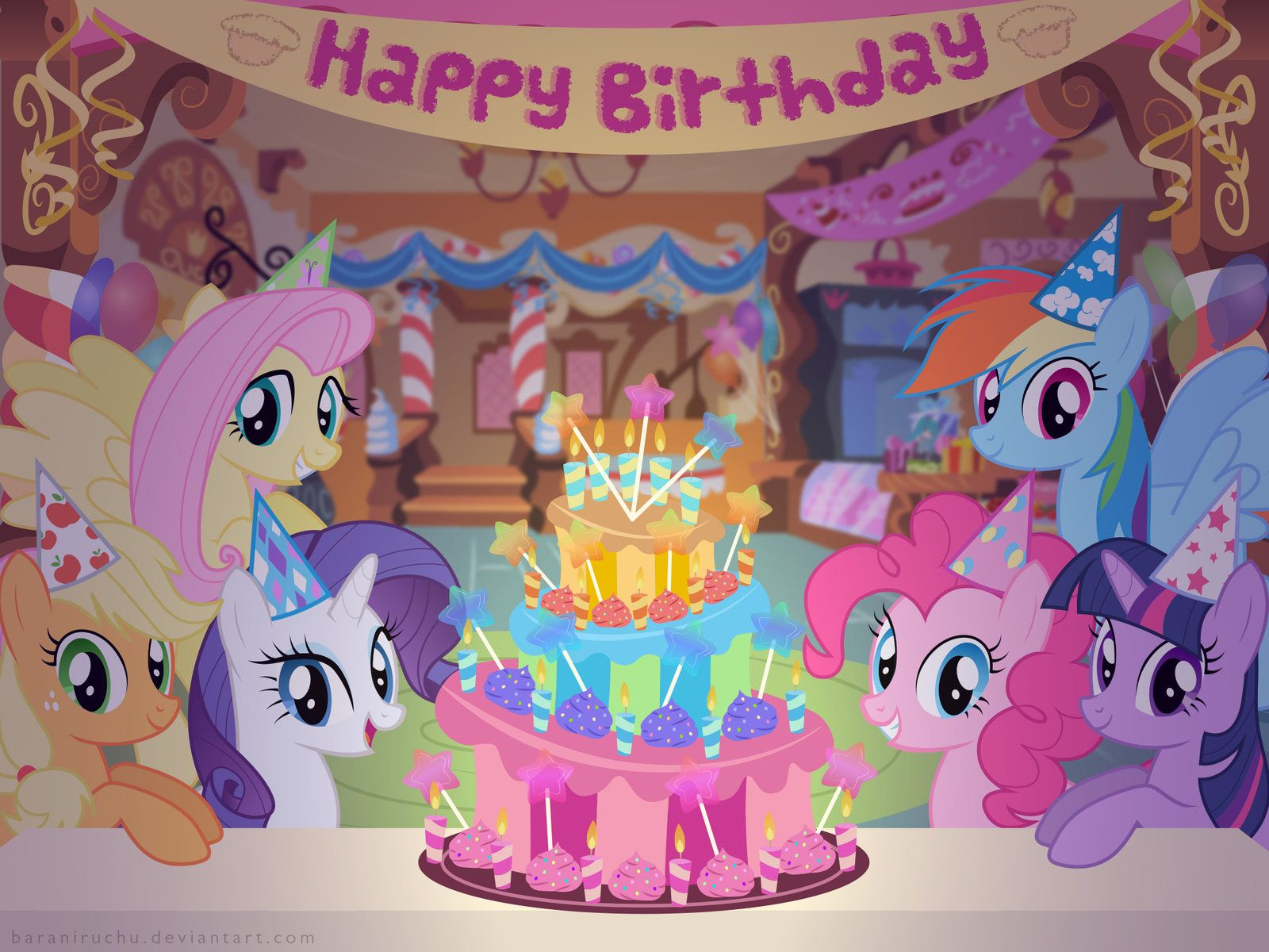 My Little Pony Happy Birthday Coloring Pages : Ii anniversary mlp fim birthday party wallpaper by baraniruchu