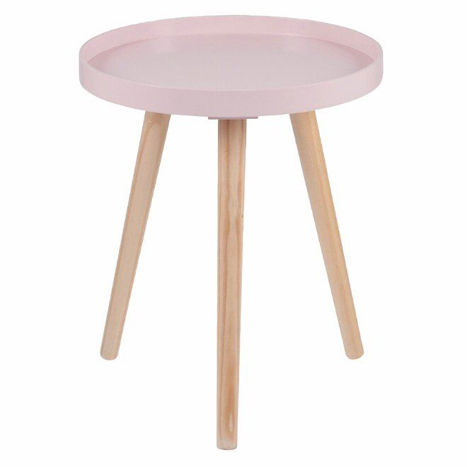 Josie S Scandinavian Round Side Table In Pastel Pink With Images Pink Side Table Wooden Side Table Pink Bedside Tables