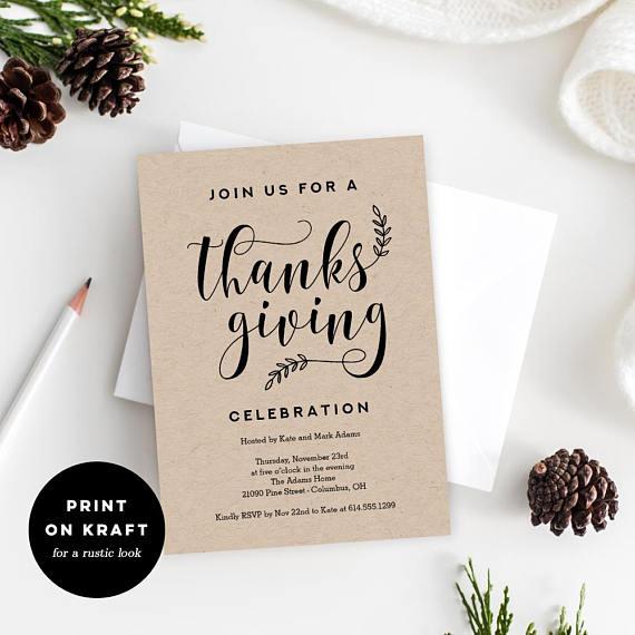 Printable Thanksgiving Party Invitation Template Rustic Crafts - Party invitation template: thanksgiving party invitation templates