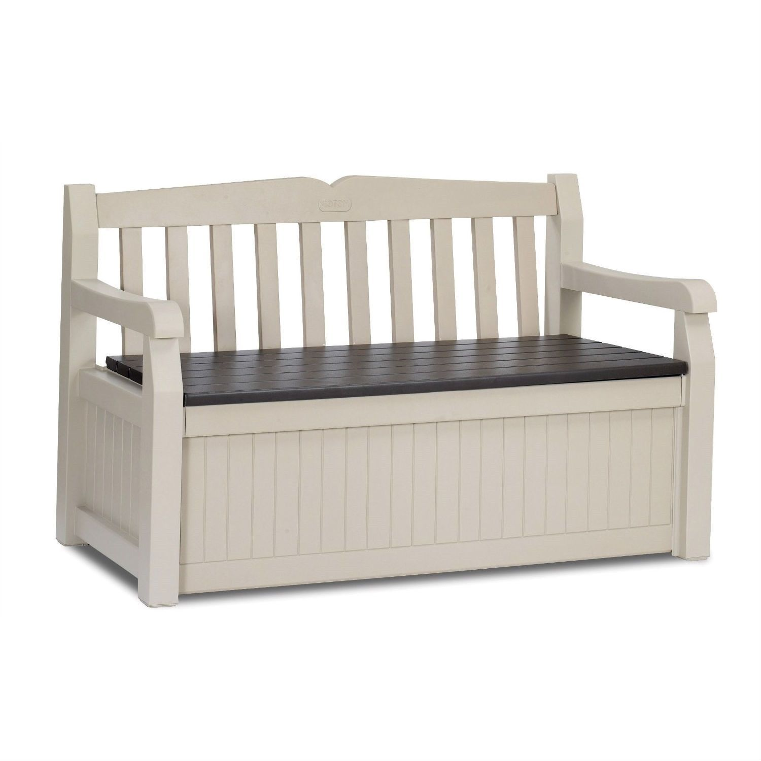 Patio Bench With Arm Rest U0026 Storage Box In Beige Weather Resistant Resin