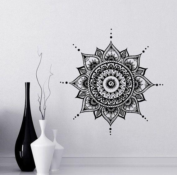 Mandala Abziehbilder Mehndi Vinyl Aufkleber Schlafzimmer Wand Aufkleber Lotus Blume Boho indischen Dekor Yoga Buddha Aufkleber kostenloser Versand T108