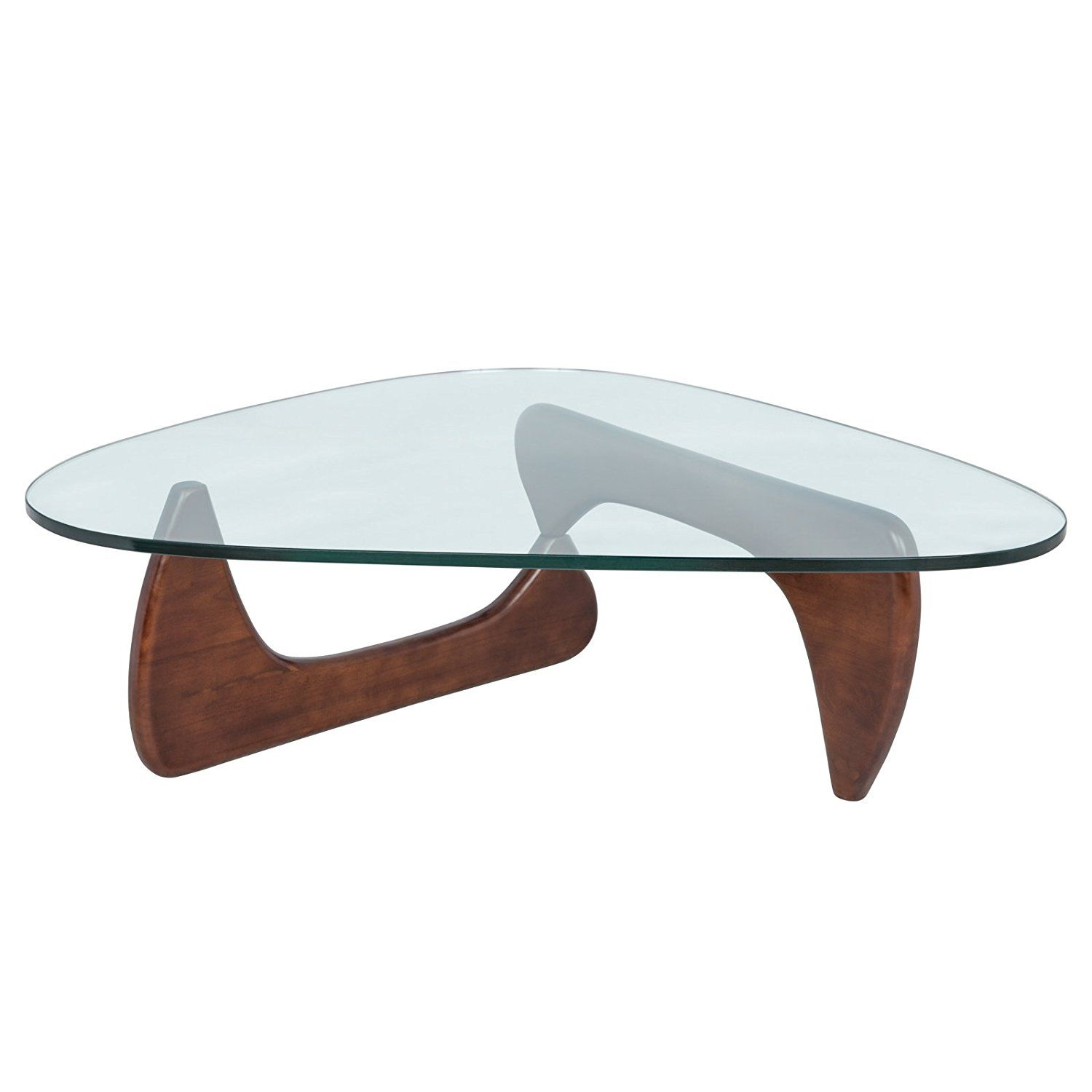 Amazon Com Leisuremod Imperial Glass Top Triangle Coffee Table Dark Walnut Base Kitchen Dining Triangle Coffee Table Walnut Coffee Table Cool Coffee Tables