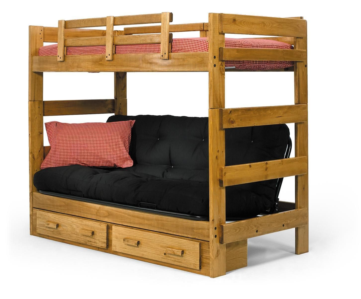 Solid Pine Wood Twin Over Futon Bunk Bed Honey Made In Usa Make Offers Ebay