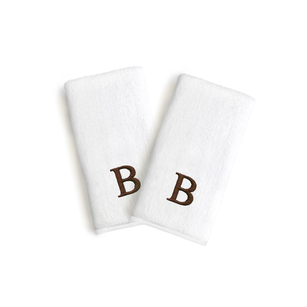 Authentic Hotel and Spa 2-piece White Turkish Cotton Hand Towels with Brown Block Monogrammed Initial (T)