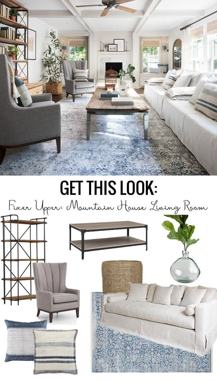 Get This Look: Fixer Upper Mountain House Living Room #fixerupper