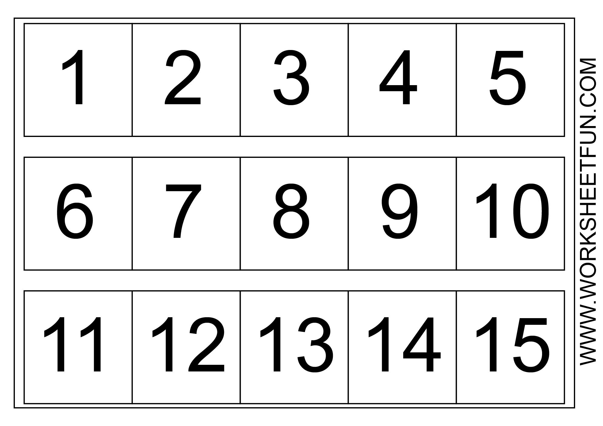 Number Chart 1-15 | Kindergarten Worksheets | Pinterest