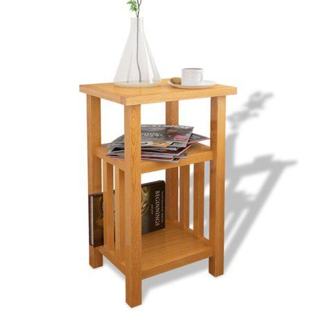 vidaXL End Table with Magazine Shelf Solid Oak 10.
