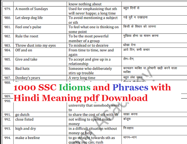 SSC CGL 2017 Idioms and Phrases with Hindi Meaning pdf
