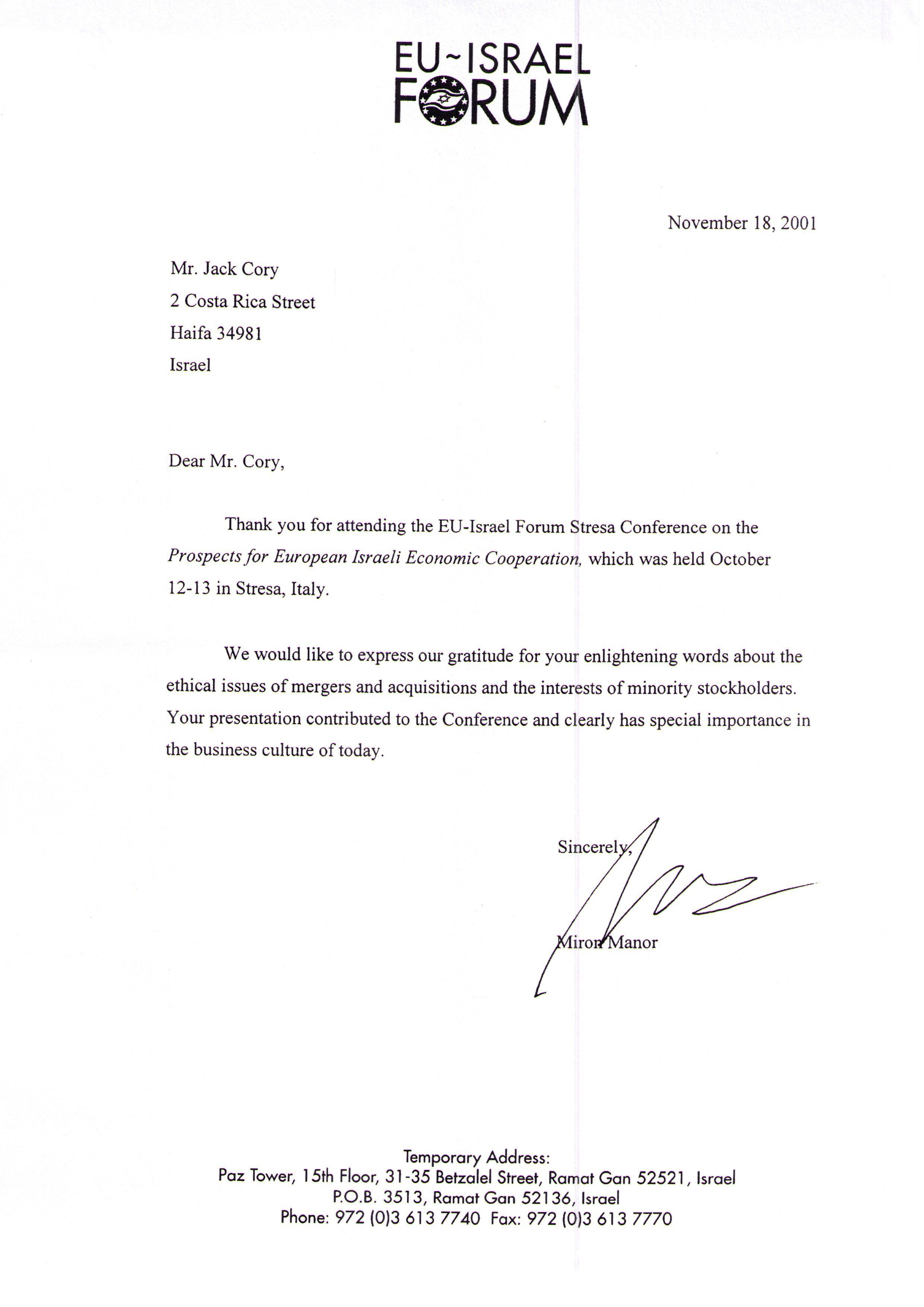 Appreciation Letter  AppreciationLetterByTheEuIsraelForum