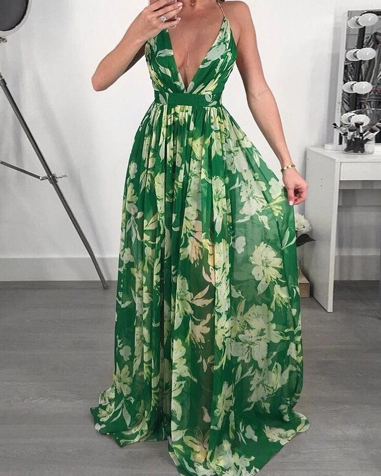 Floral Print Pleated Backless Slip Maxi Dress Chiffon Dress Long Long Summer Dresses Maxi Dress
