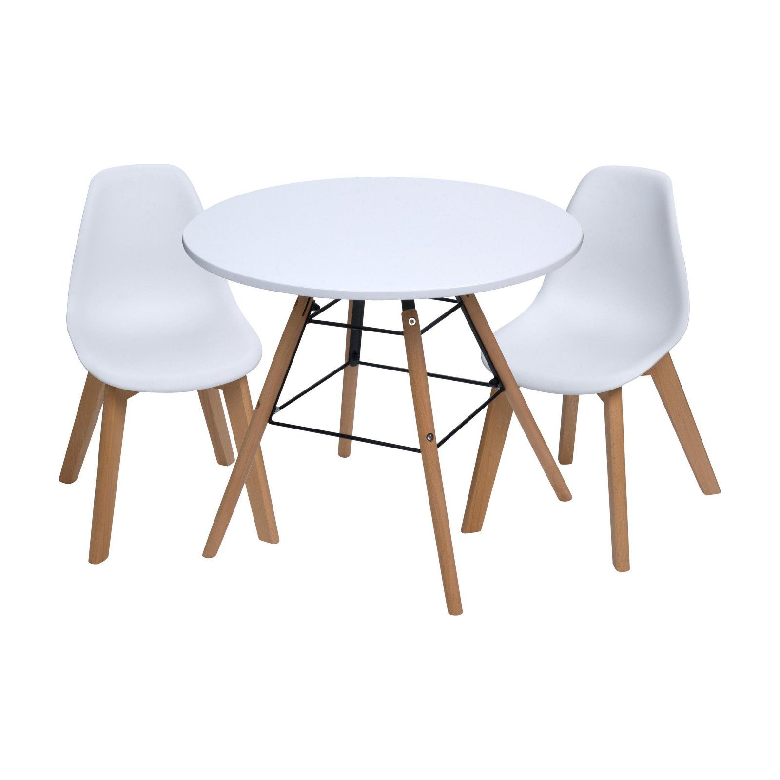 Gift Mark Mid Century Modern Round Kids Table With White Chairs