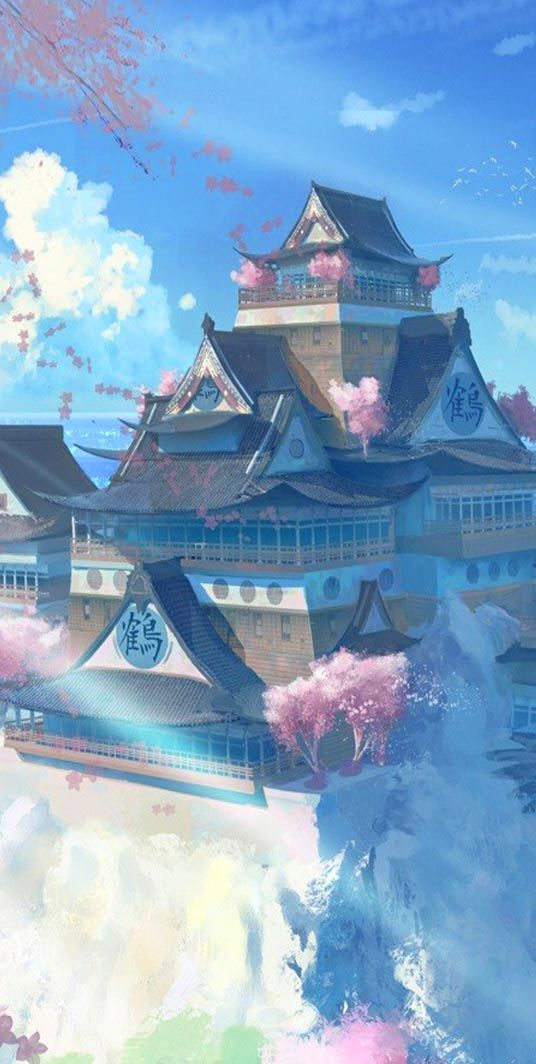 Anime Hd Widescreen Wallpapers Japan Temple Scenery Anime Manga Wallpaper Http Www Freecomputerdesktopwallp Paysage Fantastique Dessin Paysage Art Paysage