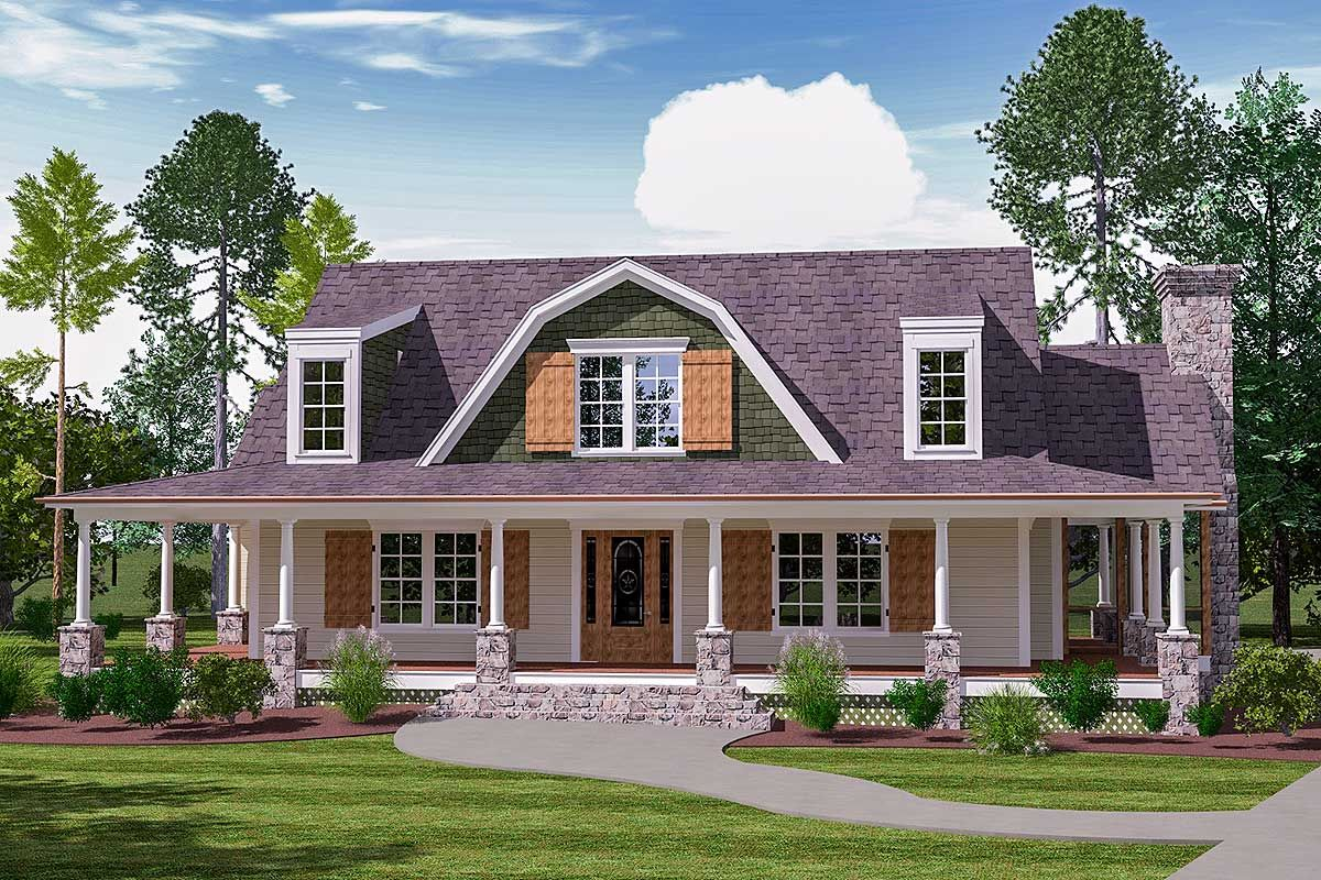 A Big Wrap Around Porch And A Gambrel Gable Flanked By Two Dormers Combine To Give You A Captivating Country Style House Plans Barn House Kits Barn House Plans