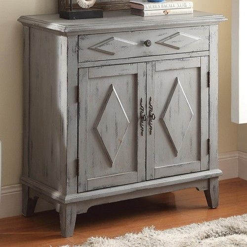 Coaster Accent Cabinets Distressed Blue Accent Cabinet With Diamond Motif    Coaster Fine Furniture
