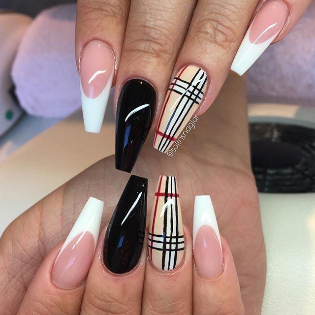Pinned By Lovemebeauty85 Burberry Nails Plaid Nails Long Acrylic Nails