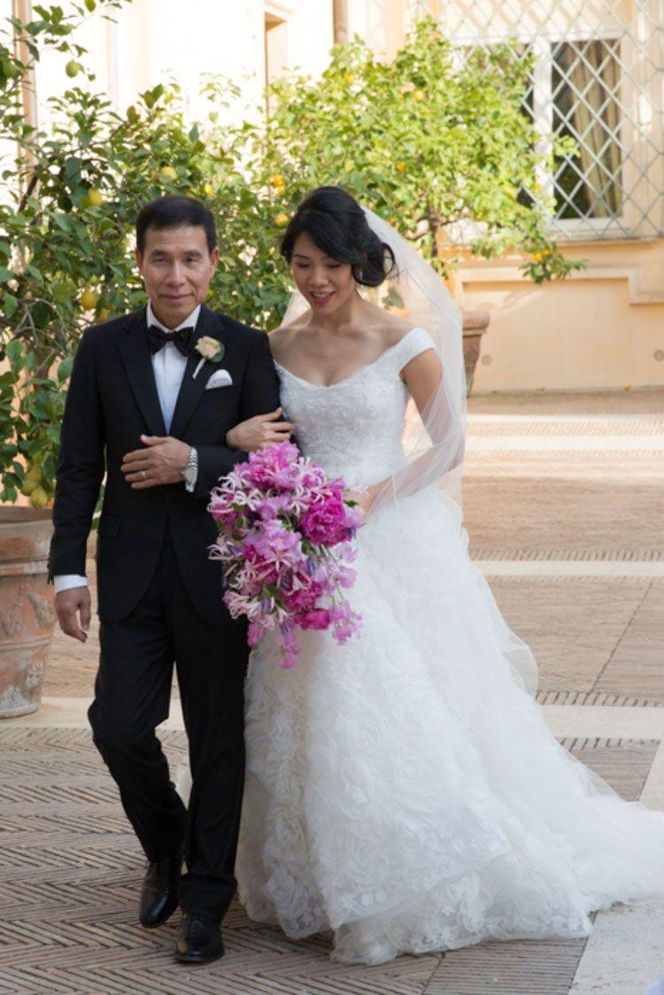 A Blush Fl Chuppah And Marchesa Wedding Dress For Her Walk With Dad