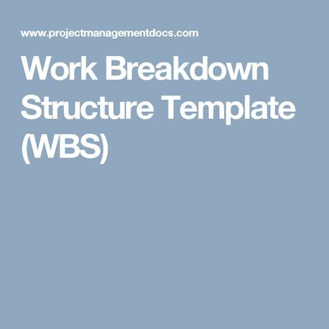 Work Breakdown Structure Template Wbs  Pm