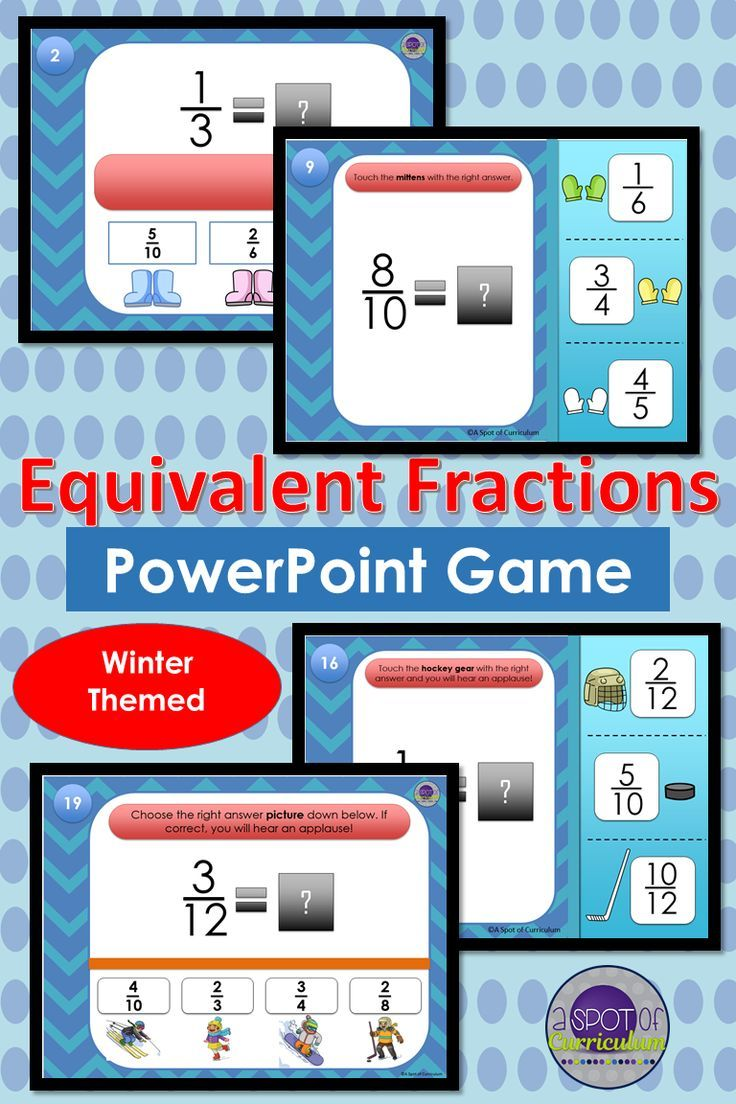 Equivalent Fractions Winter PowerPoint Game | Equivalent fractions ...