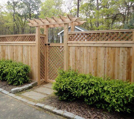 Lattice top cedar privacy fence yard projects for Wood lattice trellis
