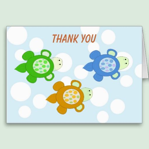 Swimming Turtles Thank You Greeting Card