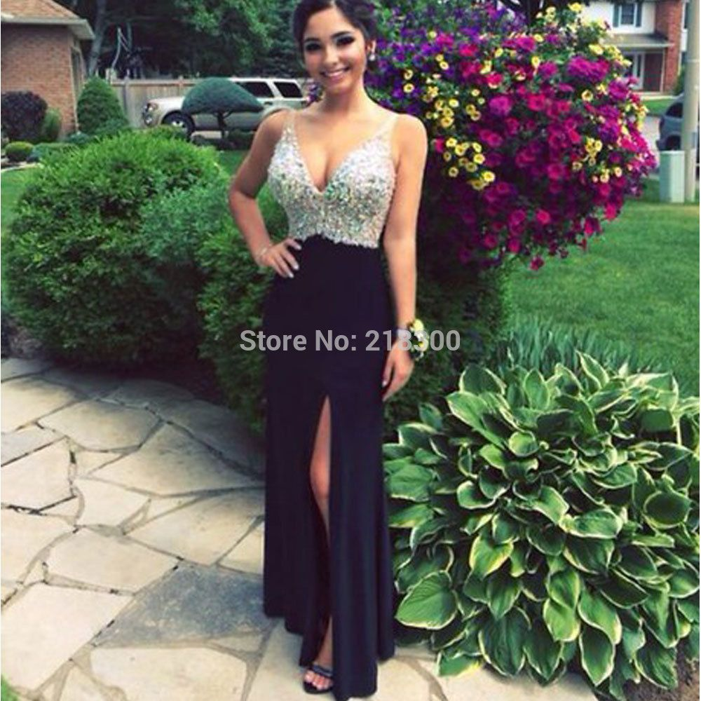 Click to buy ucuc crystal black prom dress with slit trumpet prom