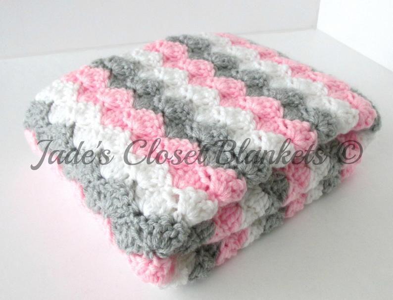 Hakeln Babydecke Baby Decke Rosa Und Grau Baby Decke Etsy