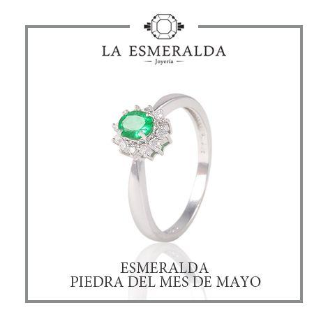b1b369b14838 Anillo de Oro Blanco con Esmeralda y Diamantes