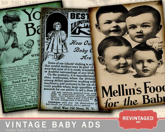 Vintage BABY ADVERTISEMENT Art from 19th and early 20th centuries for DIY Hang Tags by RevintagedArt, $1.90