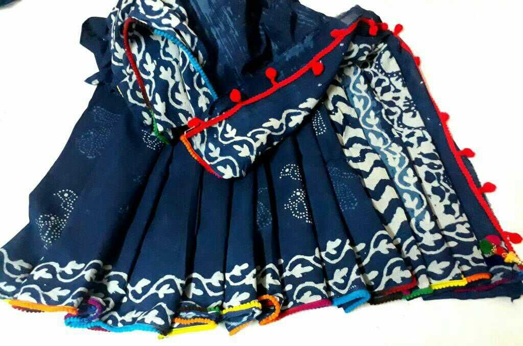 Pure mul mul cotton indigo sarees of bagru printing with pom pom lace