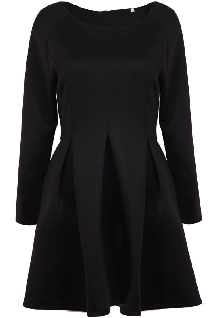 Black long sleeve simple design ruffle dress sheinside