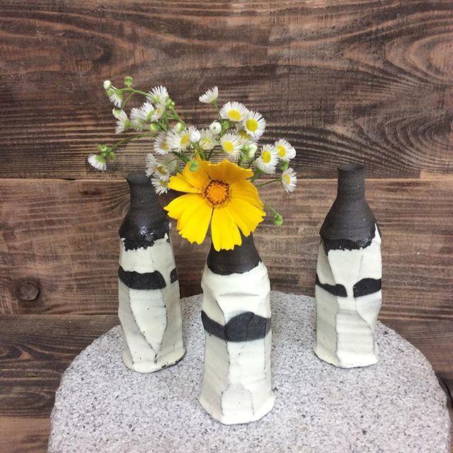 #花入れ #陶器 #Flower vase#Ceramic #handcraft #japan  今朝焼き上がっったばかりの作品。