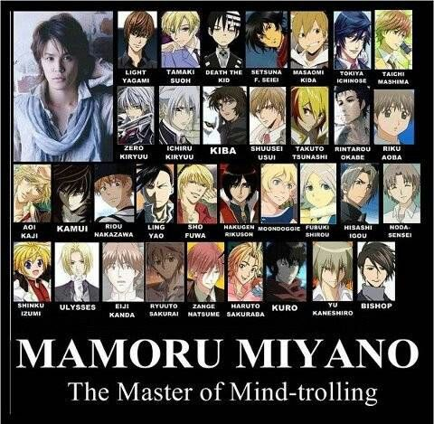 Mamoru Miyano And Some Of My Favorite Characters Aren T Even On Here Anime Voice Actor Manga Anime