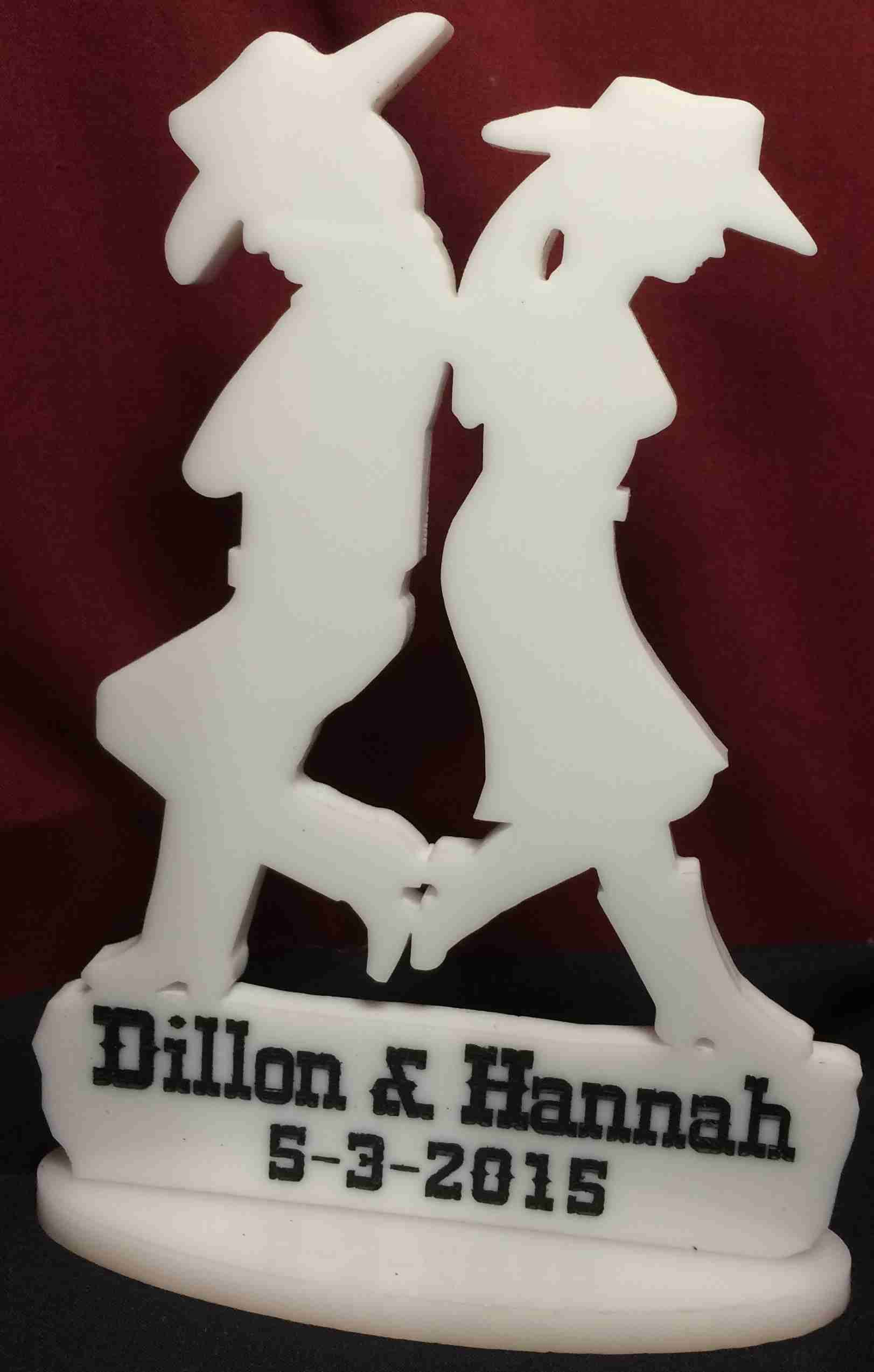 Western theme wedding cake topper cowboy cowgirl personalized with
