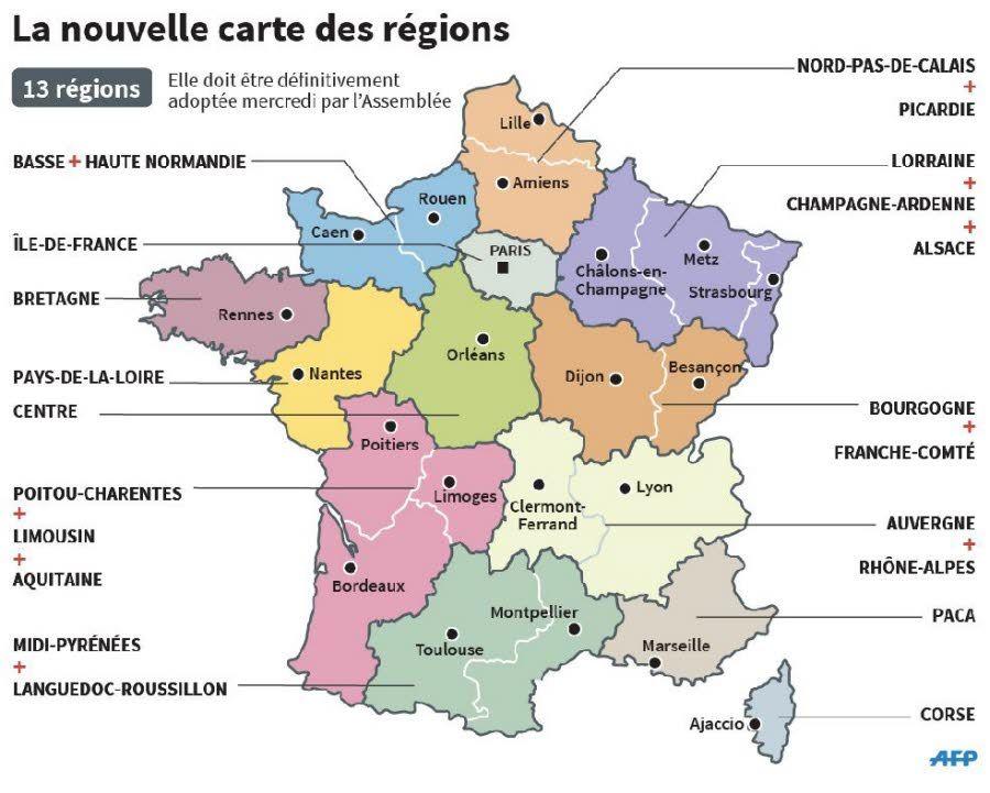 Carte de France villes principales et régions