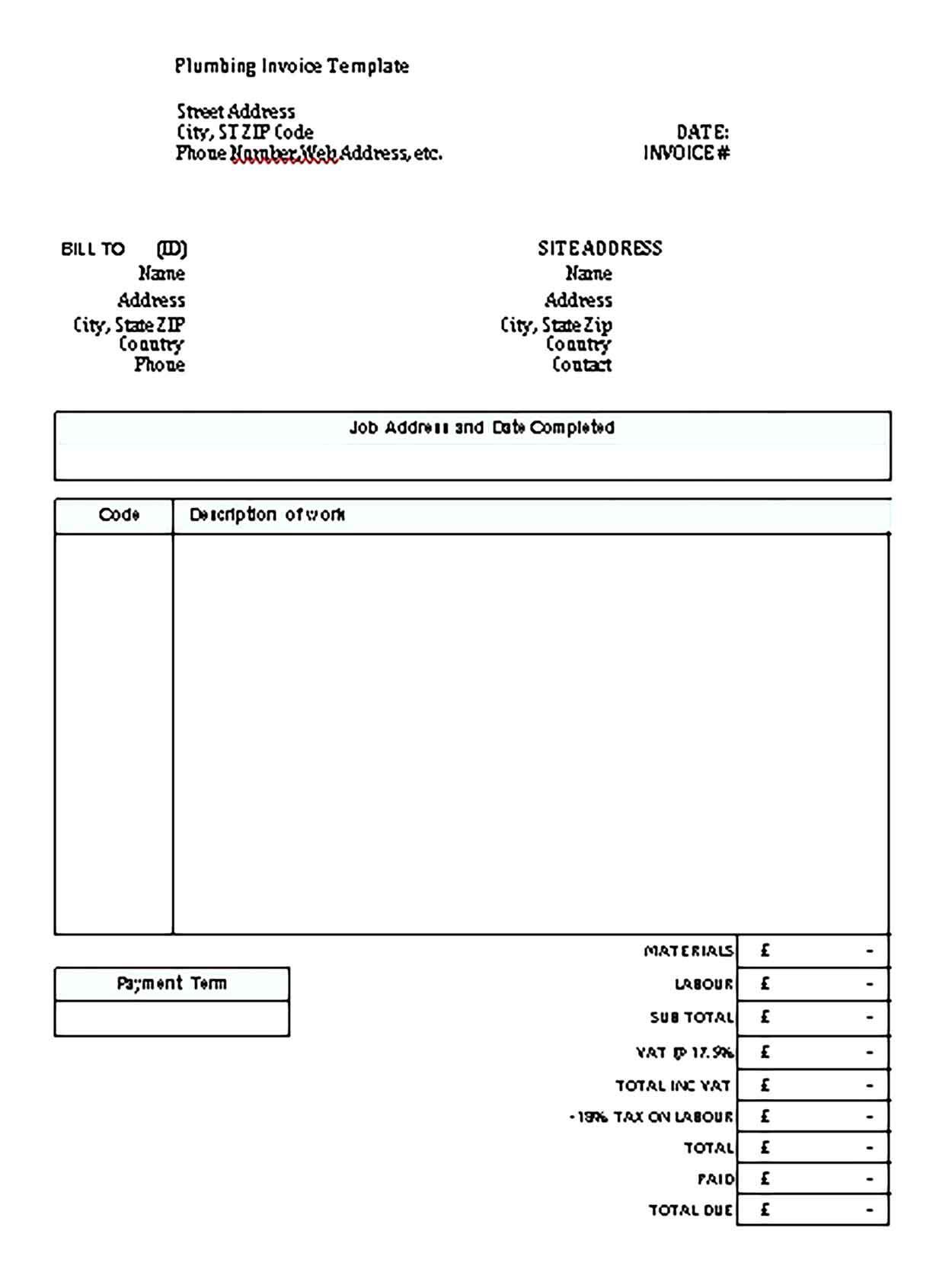 Printable Plumbing Invoice Template Invoice Template Invoice Template Word Business Template