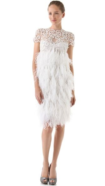 Marchesa Embroidered Tulle Dress with Feather Skirt