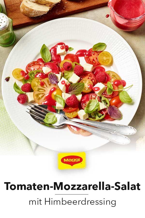 Tomaten Mozzarella Salat Mit Himbeerdressing Rezept In 2020 Tomaten Mozzarella Salat Tomate Mozzarella Und Himbeeren
