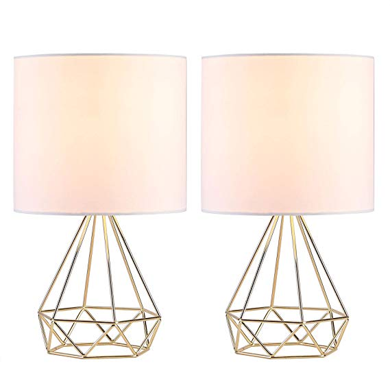 Co Z Modern Table Lamps For Living Room Bedroom Set Of 2 Gold Desk Lamp With Hollowed Out Base And White Fabric S Caged Lamp Gold Desk Lamps Modern Table Lamp