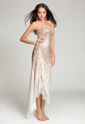 Prom Dresses - Chiffon Sequin Strapless Dress with Slit from Camille ...