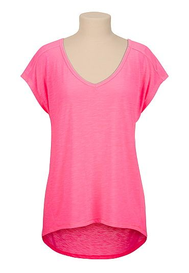 pink high-low v-neck tee (original price, $18) available at #Maurices