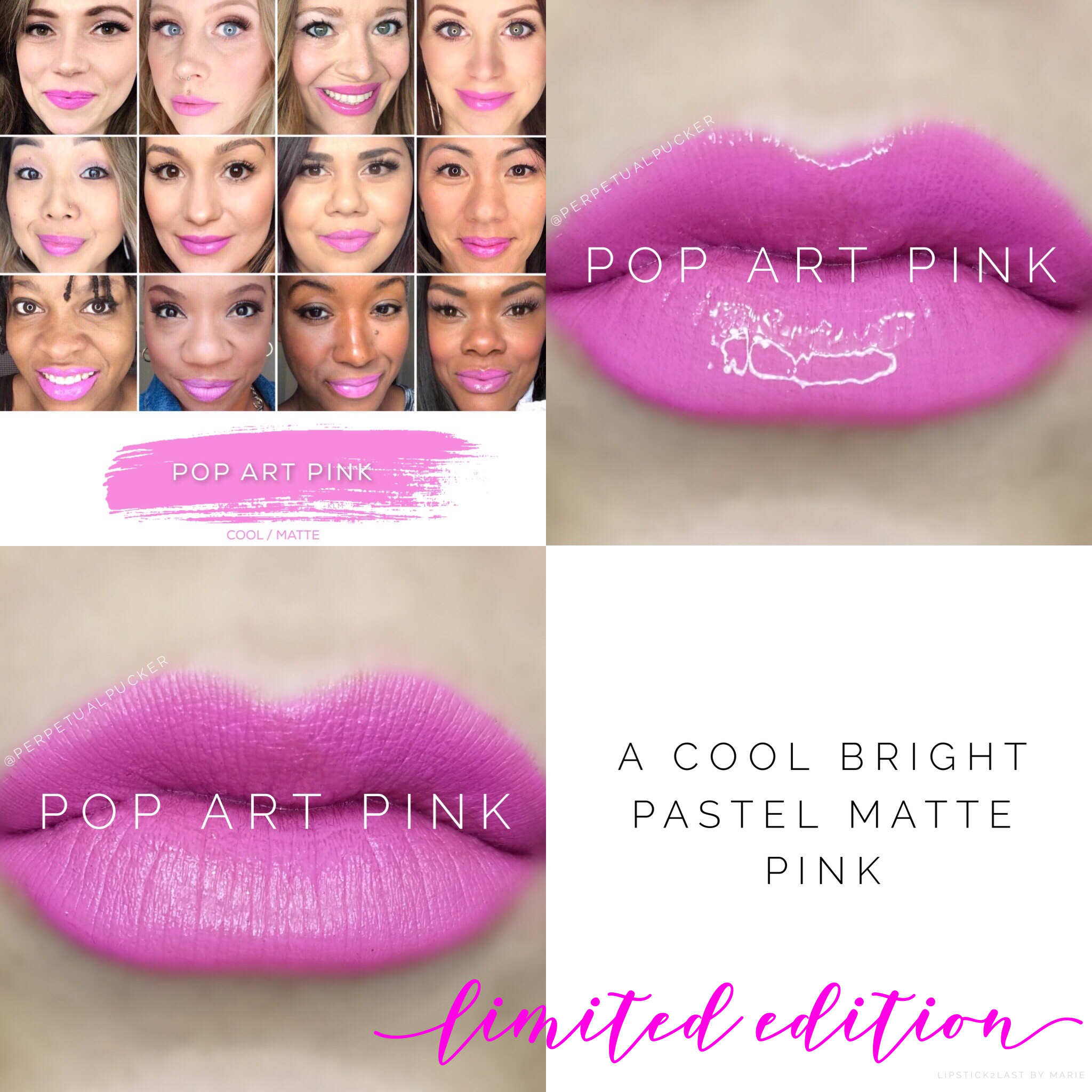 Pop Art Pink LipSense collage with lips and selfies #popartpink