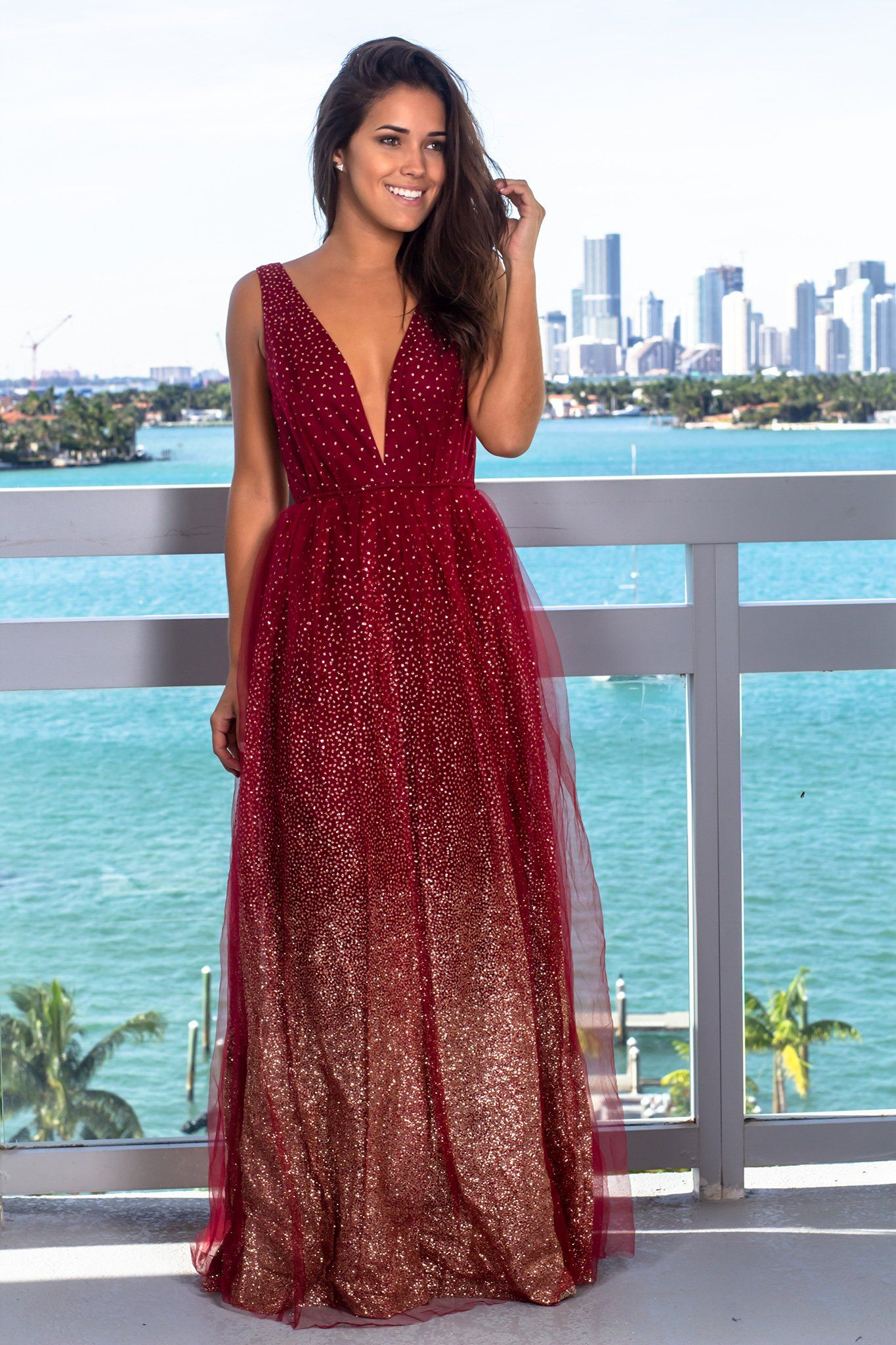 d31658c2e7 Burgundy Tulle Maxi Dress with Glitter Detail in 2019 | Outfits ...