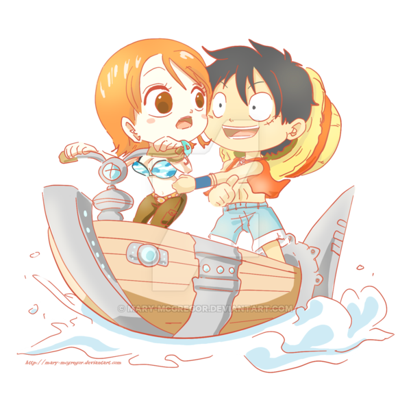 Nami & Luffy in chibis (season Enel), they are on the waver, i love theses episodes