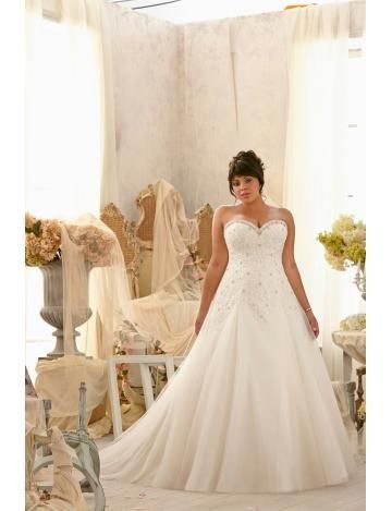 XXL Herz-ausschnitt Elegante Brautkleider aus Tüll mit Applikation ...