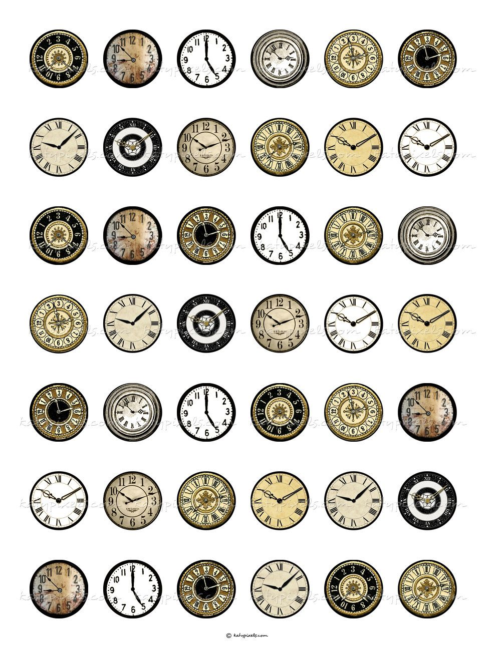Vintage Clock Faces 1 inch Round Digital Collage ...