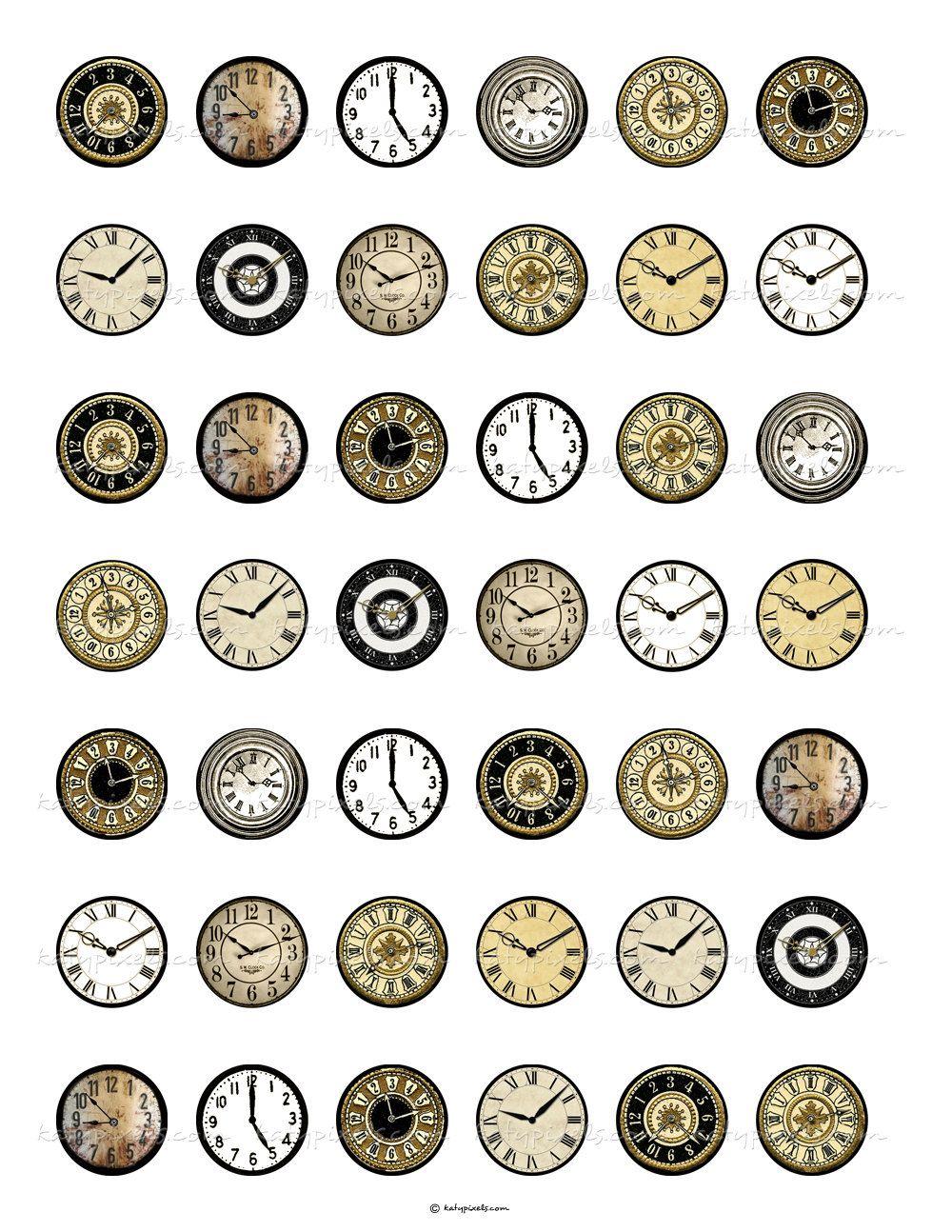 Vintage Clock Faces 1 inch Round Digital Collage ...