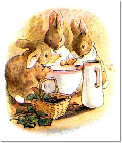 Beatrix Potter II - Beatrix Potter - The Tale of Peter Rabbit - 1903 - Three Bunnies Eat From Bowl