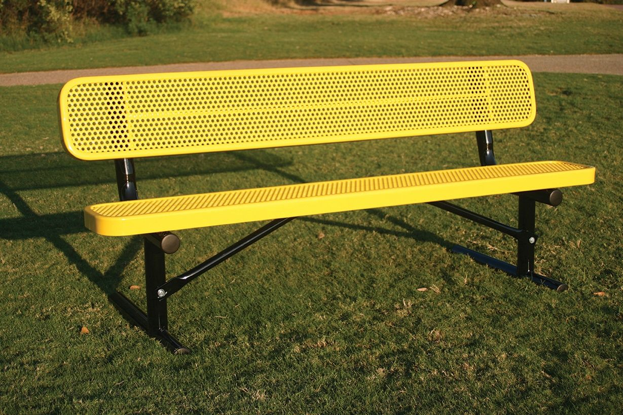 Rectangular Bench With Back Punched Steel Bench With Back Noah S Park Rectangular
