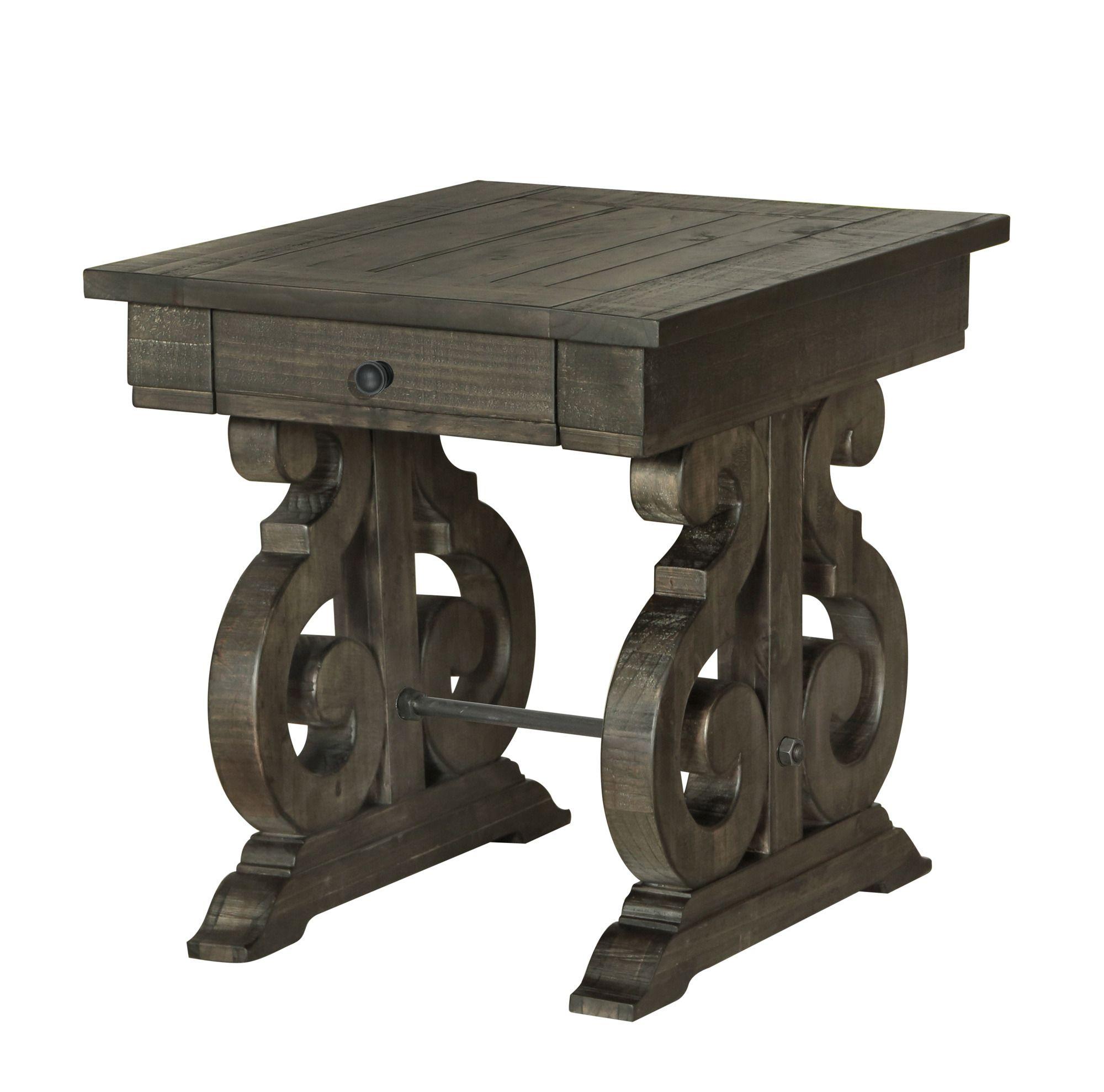 Bellamy deep weathered pine rectangular end table end