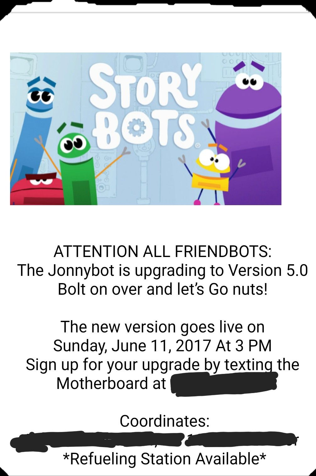 Storybots Party Reminder Screenshot Of The Text I Sent Guests